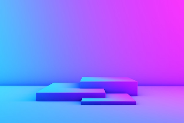 ネオン色の製品のステージ。スタジオネオンライト。マゼンタとシアン。 3 dレンダリング。コピースペース