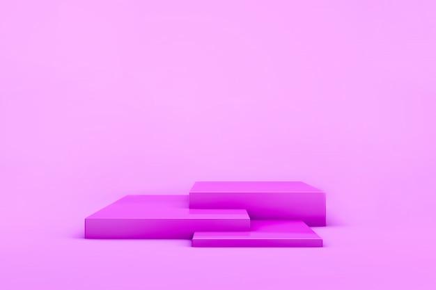 製品のピンクのガーリーステージの3 dレンダリング。 。スタジオライト。幾何プリミティブ