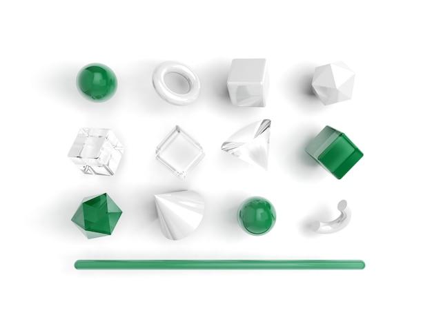 白の3 dレンダリング現実的なプリミティブのセット