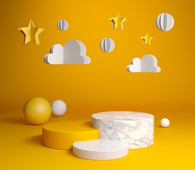 プレミアムポディウムセットコレクションと黄色い紙アート背景3 dレンダリング