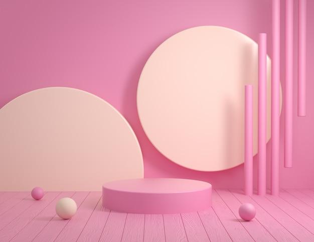 木製の床の3 dレンダリングと抽象的な空のピンクの表彰台の背景