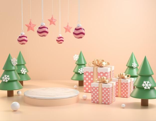 クリスマス背景コンセプト3 dレンダリングを祝うに最小限のモックアップ表彰台
