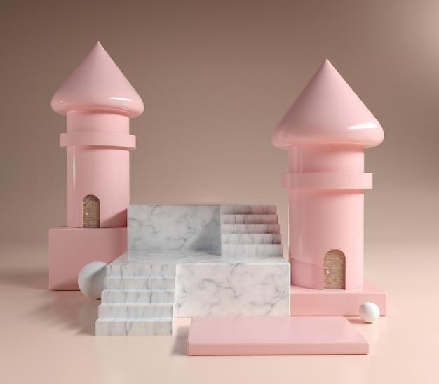 抽象的な現代的な大理石のプラットホーム表彰台とダブルピンクの塔、3 dイラストレーションとピンクの化粧品