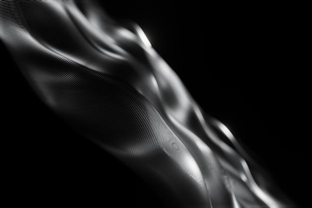 粒子技術の抽象的な未来デジタル波暗い背景をぼかした写真3 dレンダリング