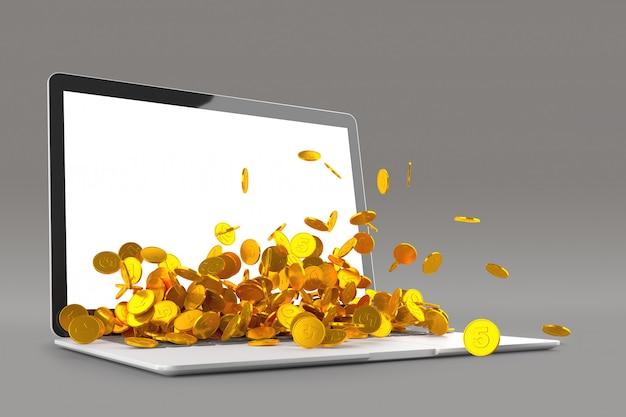 ラップトップモニターの3 dイラストからこぼれる金貨がたくさん