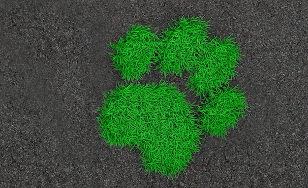 アスファルトの上の緑の芝生と生い茂った動物の3 dレンダリングトレイル