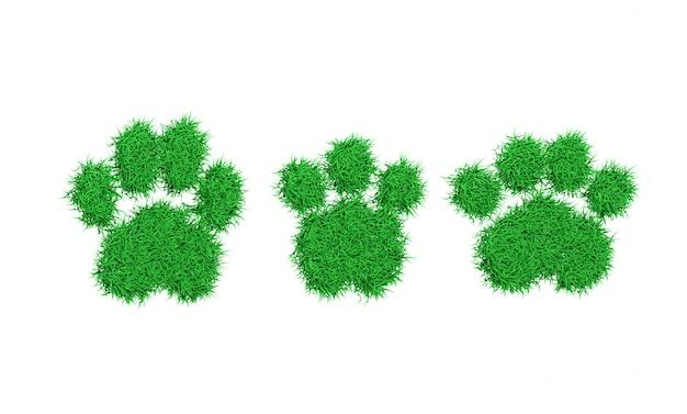 緑の芝生の3 dイラストレーションの動物の足跡シルエット