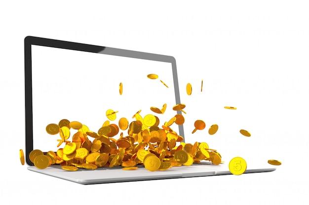 ノートパソコンのモニターの3 dイラストレーションからこぼれるたくさんの金貨