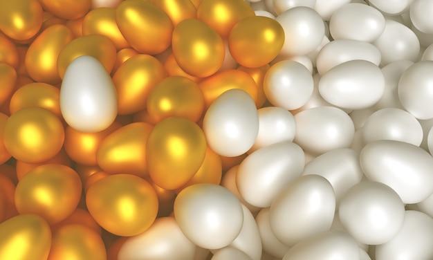 イースターをテーマにしたコンセプトアート。白と金の卵3 dイラストレーション