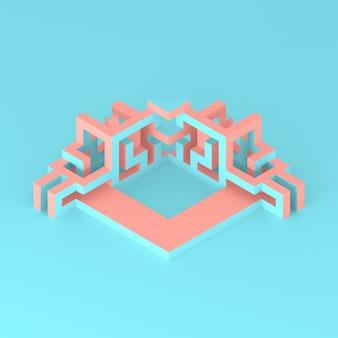 膨張する立方体の3 dイラストレーションの抽象的な等尺性配置