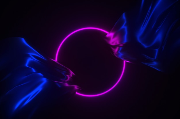 流れる絹の背景に輝くネオンフレーム3 dイラストレーション