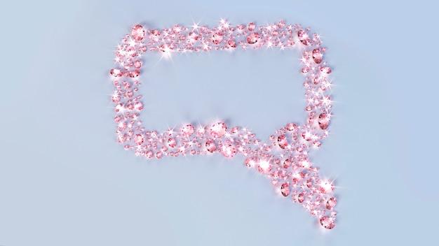 たくさんの宝石が雲のメッセージの形で表面に散らばっていました。 3 dイラスト