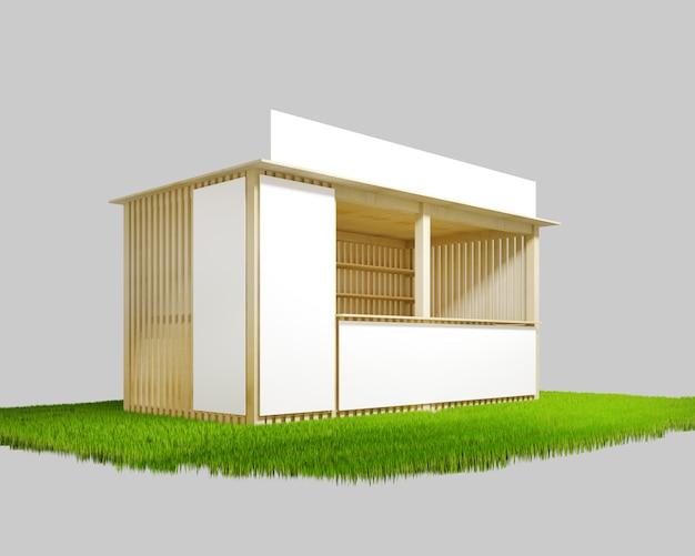 広告、3 dイラストレーションのためのスペースと木製のパビリオン