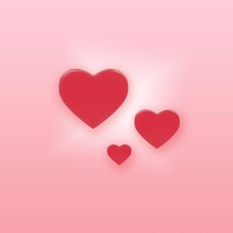 ピンクの背景のバレンタインコンセプト3 dレンダリングに赤いハート