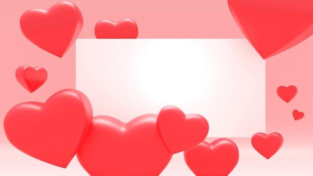 赤い色の心とピンクのバレンティンの背景。ホリデーグリーティングカード、ポスター、バナーベクトルイラスト-3 dレンダリング