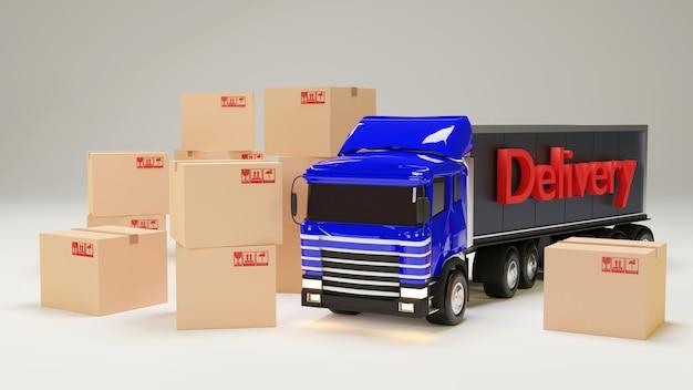 3 dイラスト。段ボール箱が付いているトラック。配信のコンセプトです。孤立した白い壁