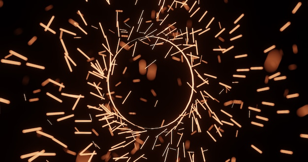 輝く光と魔法の輪円、3 dレンダリングの背景