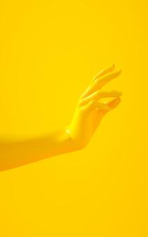 黄色の背景に黄色の手の垂直3 dレンダリング