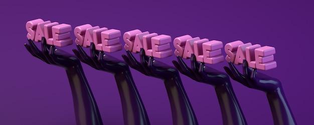 紫の円を保持している手で3 dレンダリングイラストバナー