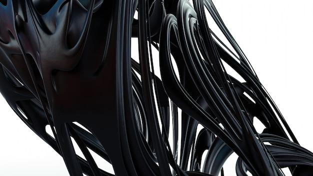 液体の抽象化3 dレンダリング図。黒の滑らかなゴム素材。マットプラスチック形状