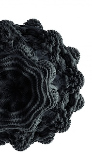 フラクタルの抽象化3 dレンダリング図。黒い飾りゴム素材。装飾のための創造的な詳細な形状。