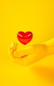 赤いハートを持っている黄色の手の3 dレンダリングイラスト。人体の部分。グラフィックデザインプロジェクトのコンセプトシーン。