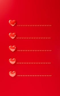 バレンタインデーハート背景テンプレート3 dイラストレンダリング。太字の赤いフラットレイアウト。テキスト用のスペースと愛の手紙グリーティングカード