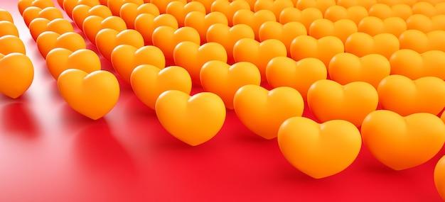 バレンタインデーハート背景パターン。太字の赤いフラットレイアウト。お祝いのグリーティングカード、ポスター、パーティー3 dレンダリング図のバナーテンプレートが大好き