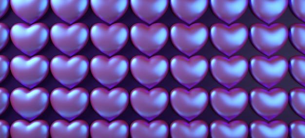 バレンタインデーハート背景パターン3 dレンダリング図。紫色のネオンホログラフィックフラットレイアウト。