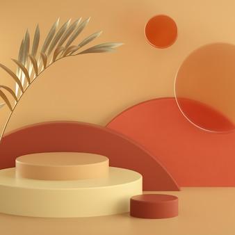 抽象的な暖かいパステル3 dレンダリングシーン、マットなガラスの円、円柱表彰台の背景。テキストのためのスペースを持つ正方形のバナーテンプレート。黄金のヤシの葉。ショーケース、店頭、ショーケース。