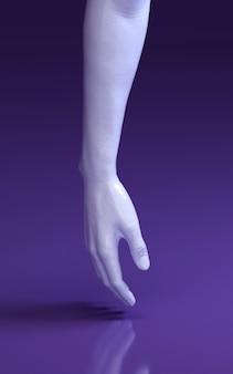 男の3 dレンダリング図は床に触れる紫のスタジオで手します。人体の部品