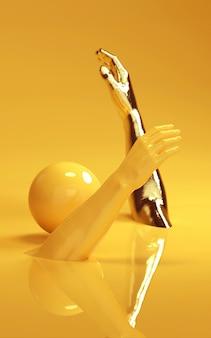 金と黄色の男の手の3 dレンダリング図。