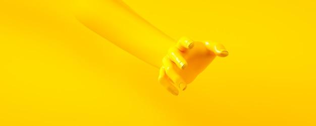 黄色い手の3 dレンダリング図。人体の部分。
