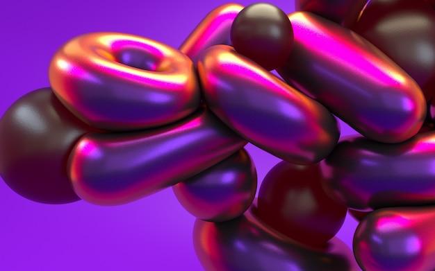 光沢のある反射とピンクパープルネオンの光で3 dレンダリングの抽象化。ホログラフィック虹色効果の背景。