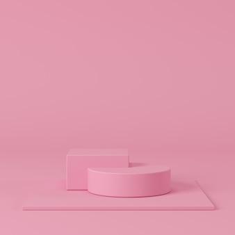 抽象的なパステルカラーの幾何学的形状、製品の表彰台ディスプレイ。最小限の概念3 dレンダリングの背景。
