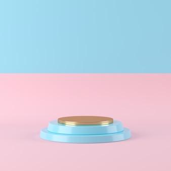 ツートンカラーの背景、製品、3 dレンダリングのための最小限の表彰台に抽象的な青い色の幾何学図形