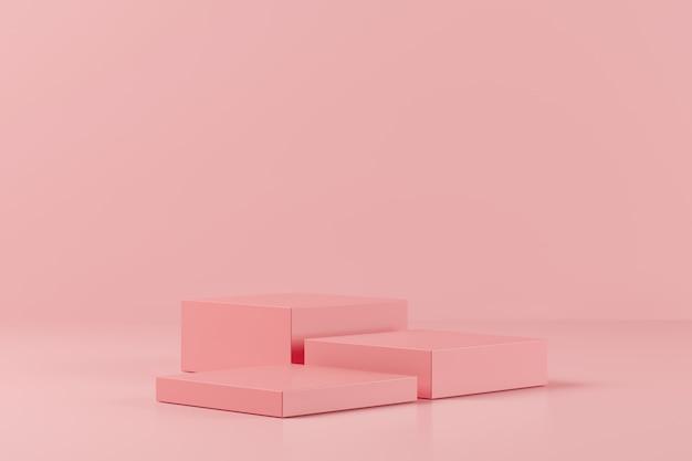 ピンクの背景、製品、3 dレンダリングのための最小限の表彰台に抽象的なピンク色の幾何学図形