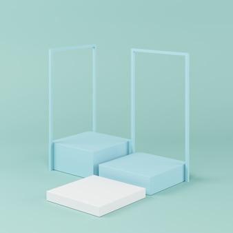抽象的なブルーカラーの幾何学形状、製品のための最小限の表彰台、3 dレンダリング