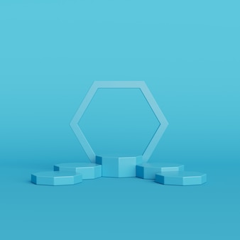 青い背景、製品、3 dレンダリングのための最小限の表彰台に抽象的な青い色の幾何学図形