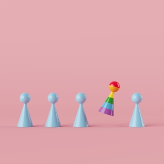 最小限のクリエイティブコンセプトの人間のシンボル、青いカラーオブジェクト3 dレンダリングで浮かぶ優れた虹色のオブジェクト