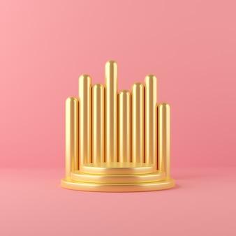 ディスプレイと製品の3 dレンダリングゴールド抽象的な幾何学形状表彰台シーン