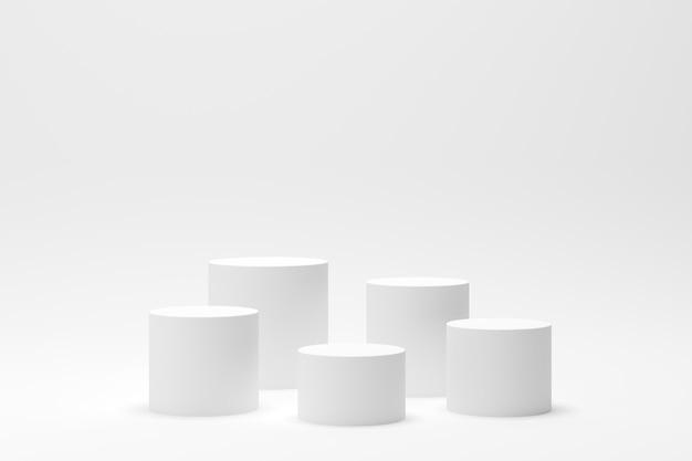 ディスプレイと製品の白い背景を持つ3 dレンダリング抽象的な幾何学図形表彰台シーン