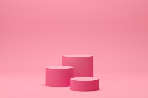 ディスプレイと製品のピンクの背景を持つ3 dレンダリング抽象的な幾何学形状表彰台シーン