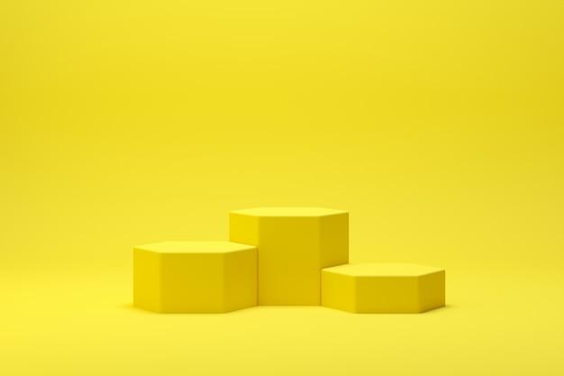 ディスプレイと製品の背景が黄色の3 dレンダリング抽象的な幾何学形状表彰台シーン