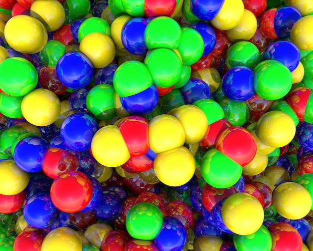 レンダリングされた色の幾何学的なボールの抽象的な3 d背景