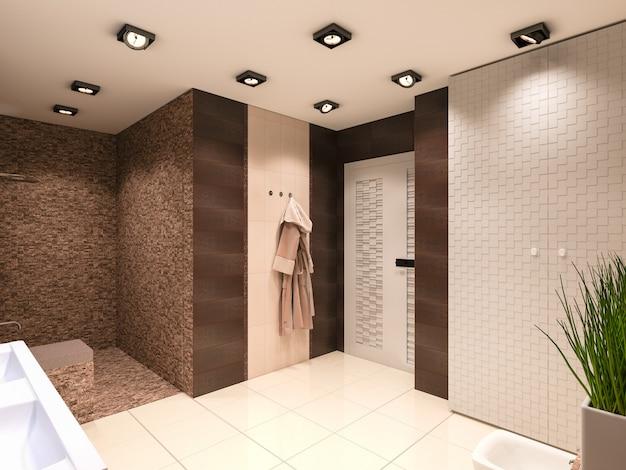 茶色を基調にしたバスルームの3 dイラストレーション