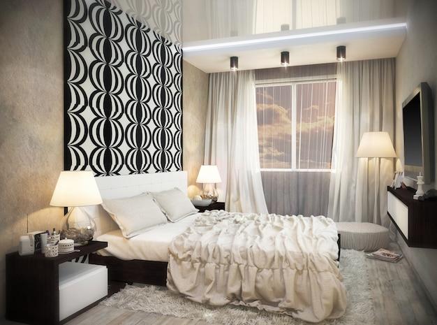 黒と白の色のバスルームのデザインの3 dイラストレーション