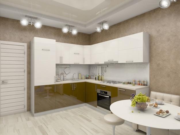 ベージュの色調のキッチンの3 dイラストレーション