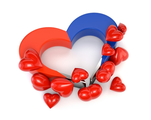 ハートマグネットは、白い背景で隔離。バレンタインデーのカード。相互愛情、ロマンチックな魅力の概念。 3 dイラスト