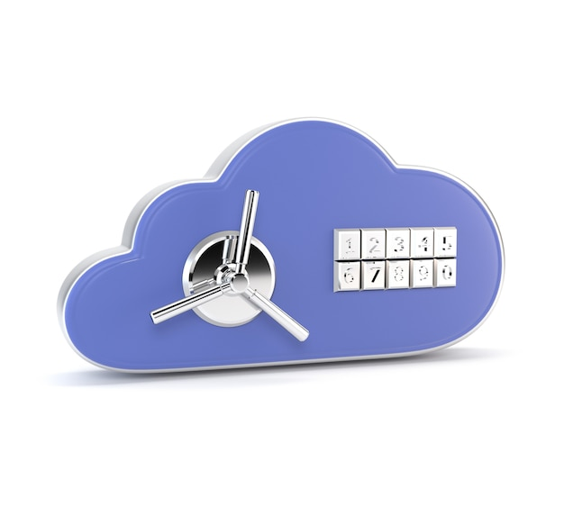 アイコン白い背景に分離された組み合わせロックのデータベース。安全。 3 dイラスト
